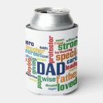 Dad Word Cloud Text Father's Day Typography Can Cooler