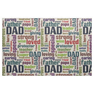 Dad Word Cloud Text Father's Day Typography Fabric