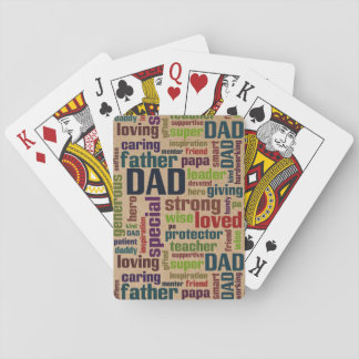 Dad Word Cloud Text Father's Day Typography Playing Cards
