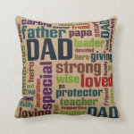 Dad Word Cloud Text Father's Day Typography Throw Pillow