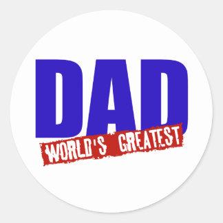 DAD WORLD'S GREATEST ROUND STICKERS