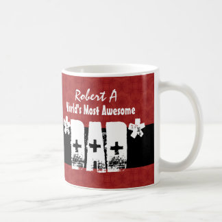 DAD World's Most Awesome RED and BLACK Grunge 1 Coffee Mug