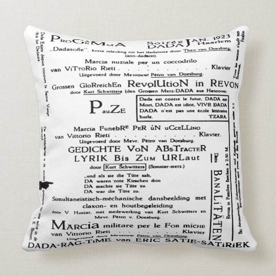 DADA ART PROGRAMME SOIREE Throw Pillow