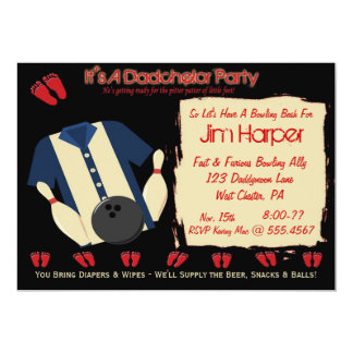 "Dadchelor Bowling Party Invitations 5"" X 7"" Invitation Card"