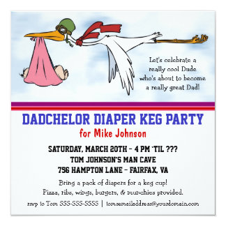 Dadchelor Diaper Keg New Dad Cute Stork Invitation