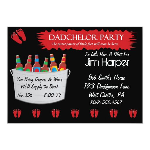 "Dadchelor Diaper Keg Party Invitations 5"" X 7"" Invitation Card"