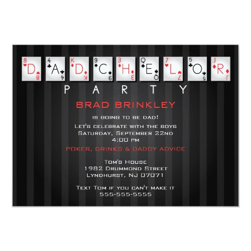 """Dadchelor Party Baby Shower Card - Poker Cards 5"""" X 7"""" Invitation Card"""