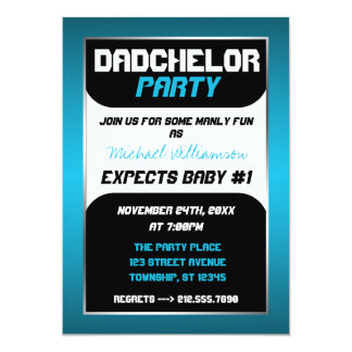 Dadchelor Party - Blue & Black Invitations