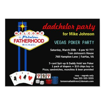 Toddler & Baby themed Dadchelor Party - Vegas Casino Style Invitations