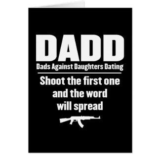 dadd - papás contra fechar de las hijas divertido tarjeta de felicitación