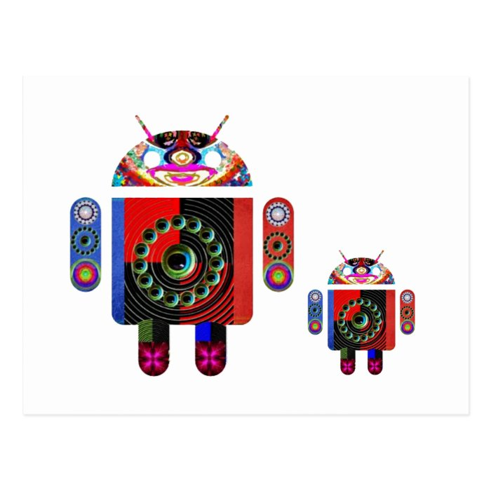 Daddy and Baby Android  -  Art101 by Navin Postcard