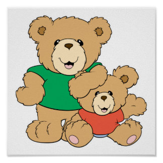 Daddy and Baby Boy Bear Poster