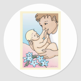 Daddy and Baby Classic Round Sticker