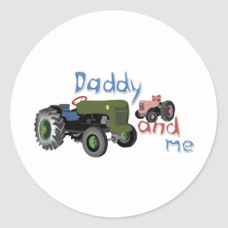 Daddy and Me Girl Tractors Classic Round Sticker