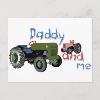Daddy and Me Girl Tractors Postcard