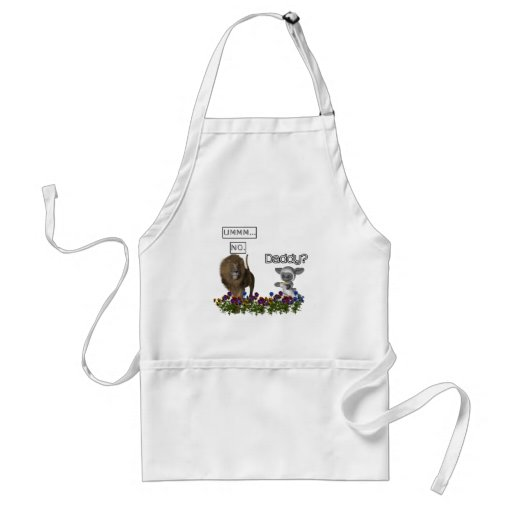 Daddy? asks a cute lamb to a big lion aprons