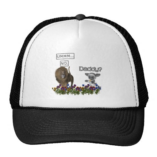 Daddy? asks a cute lamb to a big lion trucker hat