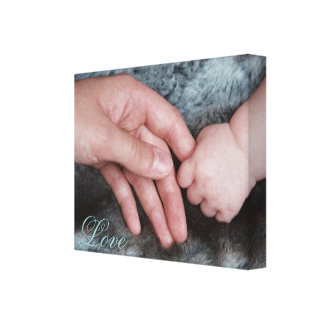 Daddy & Baby Holding Hands Canvas Print