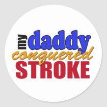Daddy Conquered Stroke Classic Round Sticker