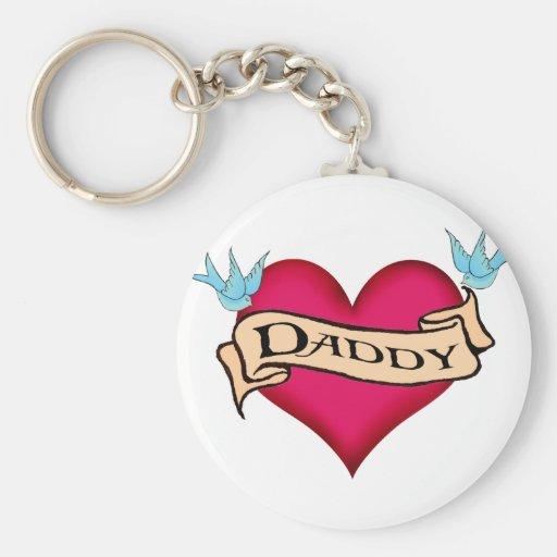 Daddy - Custom Heart Tattoo T-shirts & Gifts Key Chains