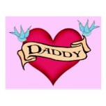 Daddy - Custom Heart Tattoo T-shirts & Gifts Postcard