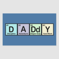 Rectangle Sticker with Daddy Elements design
