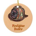 Daddy FireFighter Orange Round ornament