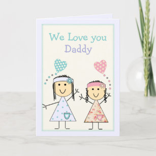 Daddy From Little Girls Birthday Greeting Card