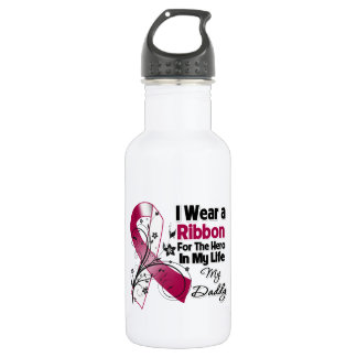 Daddy Hero in My Life Head Neck Cancer Water Bottle