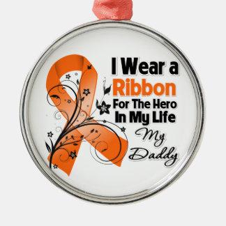 Daddy Hero in My Life Leukemia Metal Ornament