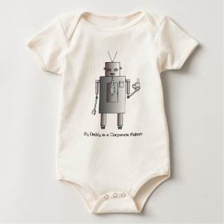Daddy is a Corporate Robot, Retro Vintage Robot Baby Bodysuit