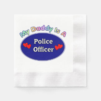Daddy Is A Police Officer Coined Cocktail Napkin