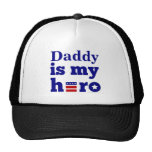 Daddy is My Hero Patriotic Red White and Blue Mesh Hats