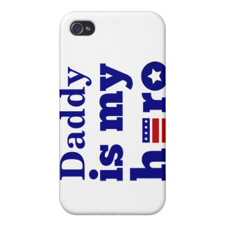 Daddy is My Hero Patriotic Red White and Blue iPhone 4/4S Cases