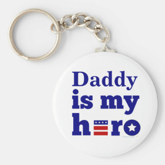 Daddy is My Hero Patriotic Red White and Blue Key Chains