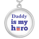 Daddy is My Hero Patriotic Red White and Blue Necklaces