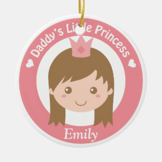 Daddy Little Princess, Cute Princess with Tiara Ceramic Ornament
