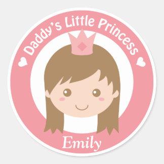 Daddy Little Princess, Cute Princess with Tiara Classic Round Sticker