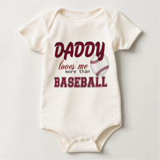 Daddy Loves Me More Than Baseball Baby Bodysuit