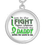 Daddy Means The World To Me Lymphoma Round Pendant Necklace