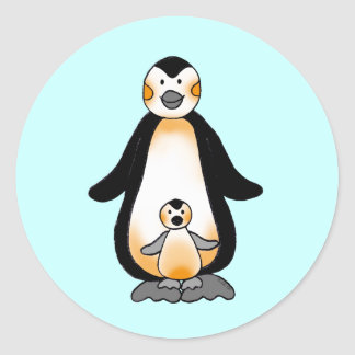 Daddy/Mommy & Baby penguins Classic Round Sticker