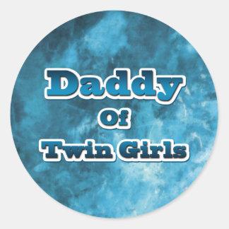 Daddy of Twin GIrls Classic Round Sticker