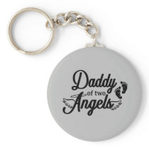 Daddy of Two Angels Keychain