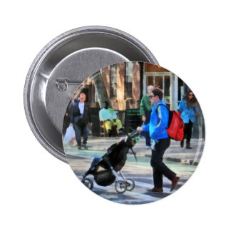 Daddy Pushing Stroller Greenwich Village Buttons