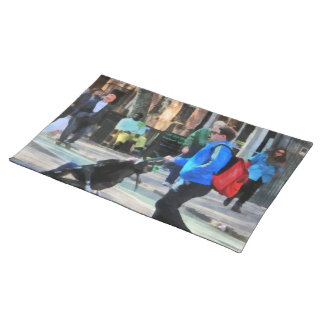 Daddy Pushing Stroller Greenwich Village Cloth Placemat