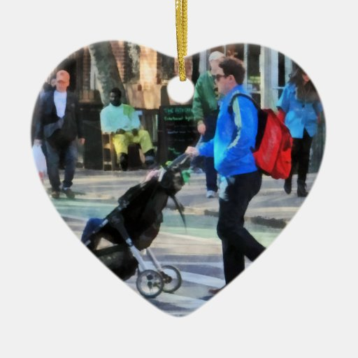 Daddy Pushing Stroller Greenwich Village Double-Sided Heart Ceramic Christmas Ornament