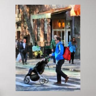 Daddy Pushing Stroller Greenwich Village Print