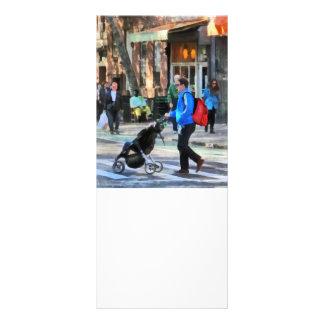 Daddy Pushing Stroller Greenwich Village Rack Card