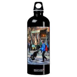 Daddy Pushing Stroller Greenwich Village Water Bottle