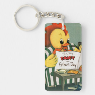 Daddy Rooster Reads the Paper Single-Sided Rectangular Acrylic Keychain
